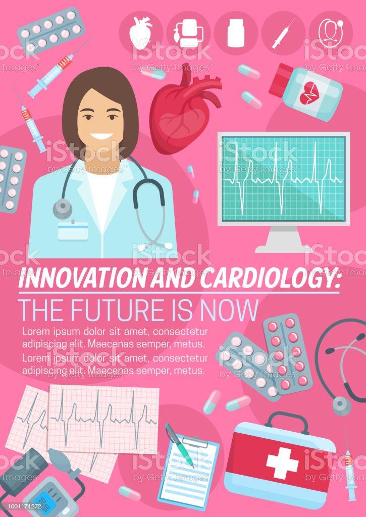 Vector Poster For Heart Cardiology Medicine Stock Illustration