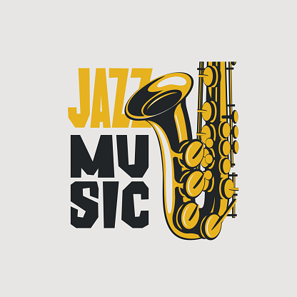 Vector poster for jazz music with saxophone