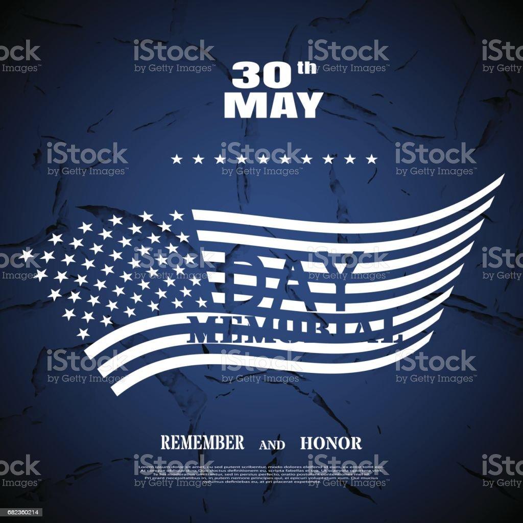 Vector affisch för Memorial Day med vit text och skugga på den mörkblå bakgrunden med silhuetten av amerikanska flaggan och mönster av sprucken färg. royaltyfri vector affisch för memorial day med vit text och skugga på den mörkblå bakgrunden med silhuetten av amerikanska flaggan och mönster av sprucken färg-vektorgrafik och fler bilder på affisch