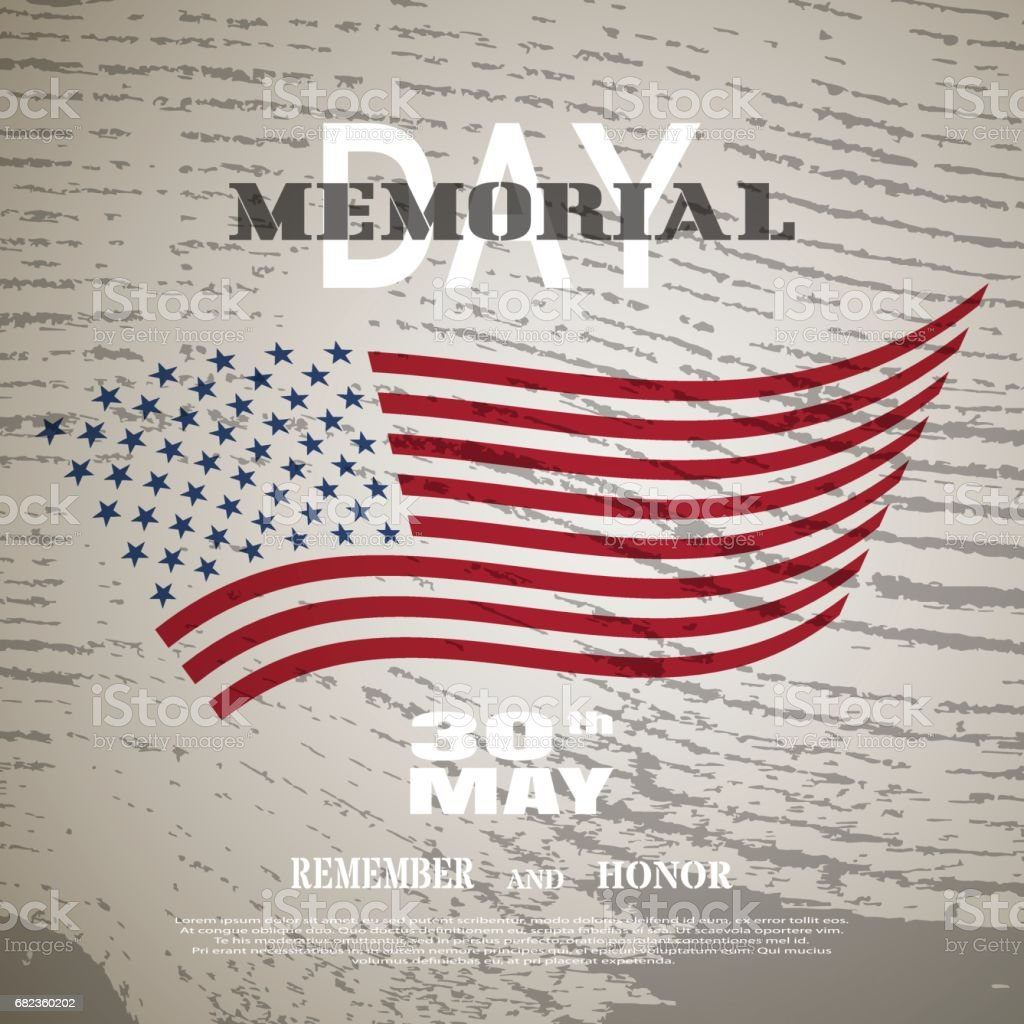 Vector poster for Memorial Day with white text and shadow on the brown background with silhouette of american flag and wood pattern. vector poster for memorial day with white text and shadow on the brown background with silhouette of american flag and wood pattern - stockowe grafiki wektorowe i więcej obrazów brązowy royalty-free