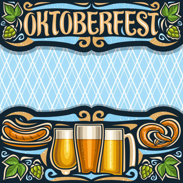Vector poster for Oktoberfest Vector poster for Oktoberfest with copy space, invitation with dark header with lettering for word oktoberfest, blue diamond background for greeting text, grill sausages on plate and beer glasses. oktoberfest stock illustrations