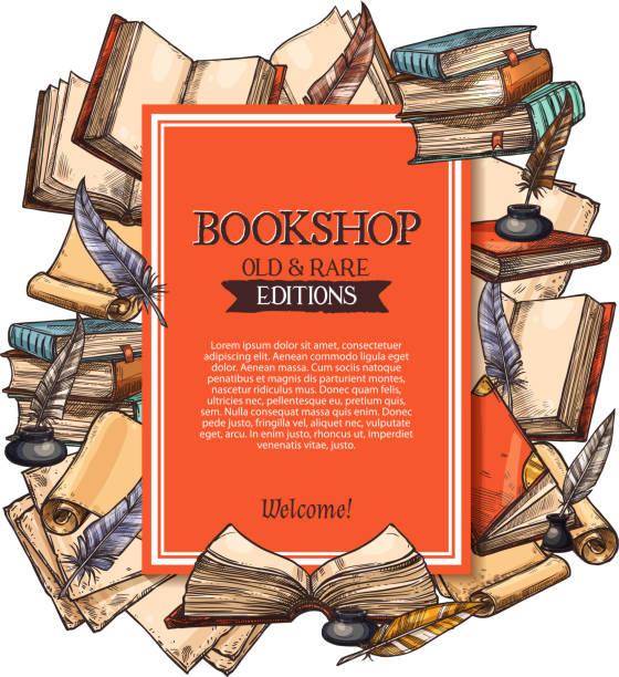 Affiche de vecteur pour l'ancienne boutique de livres rares - Illustration vectorielle