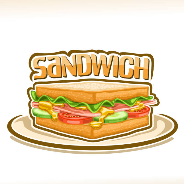 vector poster for sandwich - delis stock illustrations