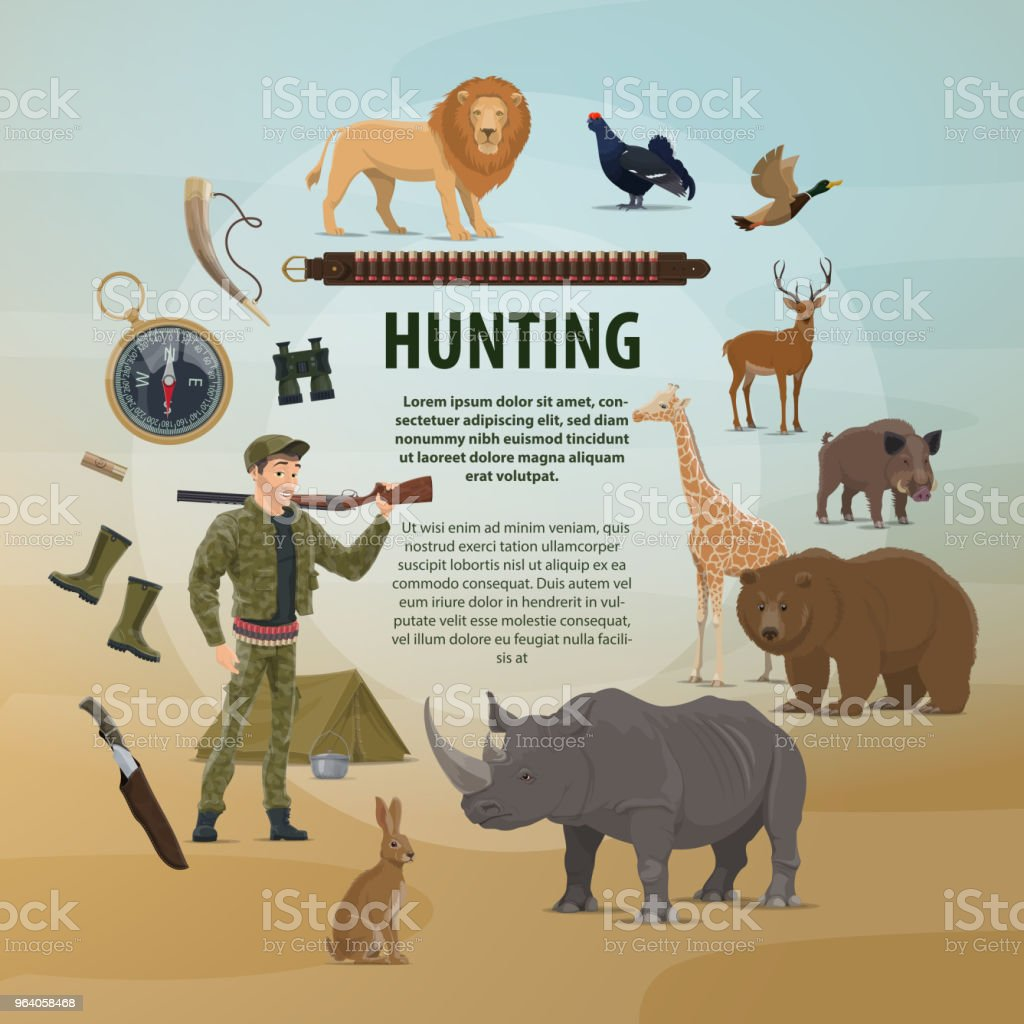 Vector poster hunting concept - Royalty-free Aiming stock vector
