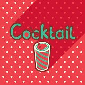 Vector poster in flat style with glass of cocktail