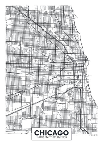Vector poster map city Chicago Vector poster map city Chicago detailed plan of the city, rivers and streets chicago stock illustrations
