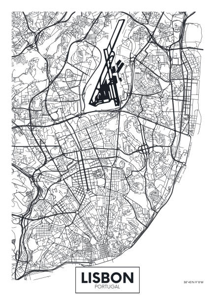wektor plakat mapa miasta lizbona - lizbona stock illustrations