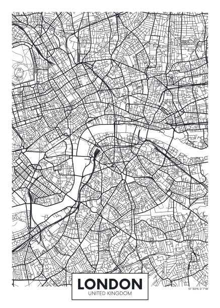 Vector poster map city London Vector poster map city London detailed plan of the city, rivers and streets london stock illustrations