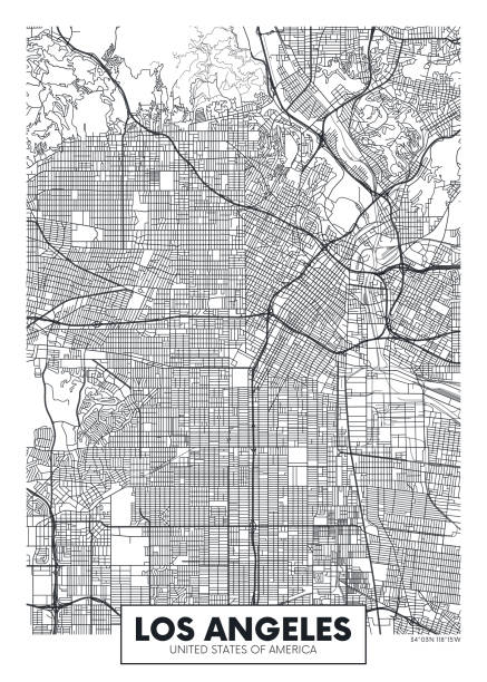 vector poster map city los angeles - деловой центр города stock illustrations