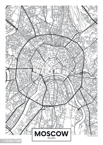 Vector poster map city Moscow detailed plan of the city, rivers and streets