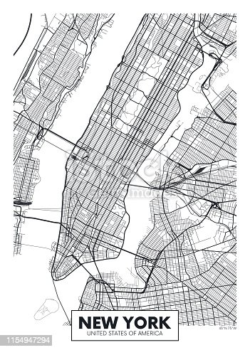 Vector poster map city New York detailed plan of the city, rivers and streets