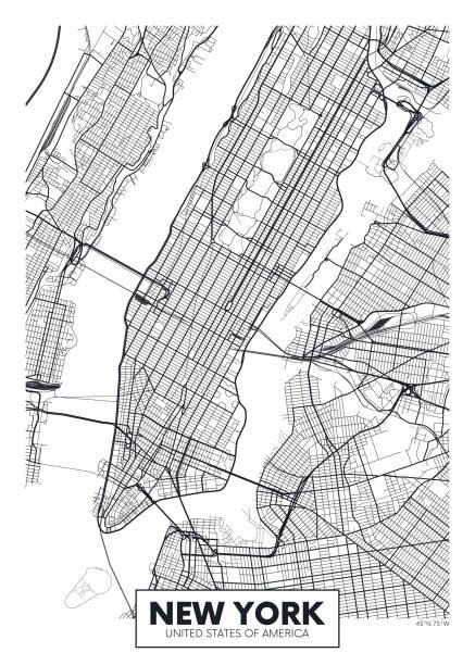 illustrations, cliparts, dessins animés et icônes de vecteur affiche carte ville new york - new york