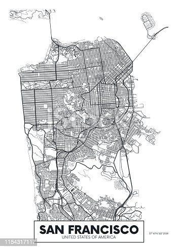 Vector poster map city San Francisco detailed plan of the city, rivers and streets