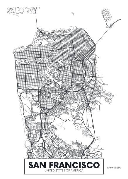 stockillustraties, clipart, cartoons en iconen met vector poster kaart stad san francisco - san francisco californië