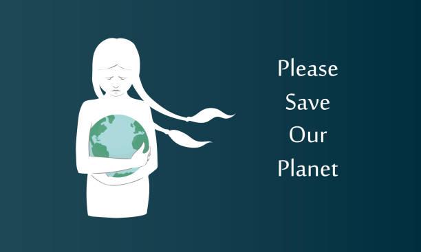 illustrations, cliparts, dessins animés et icônes de affiche de vecteur d'une silhouette blanche de fille avec de longs bouquets étreignant notre planète sur le fond foncé. peut être utilisé comme une bannière pour l'organisation de l'écologie - femme seule s'enlacer