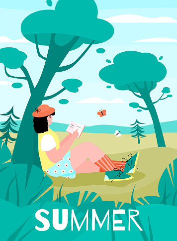 Vector poster of a young woman relaxing on a summer day in nature.