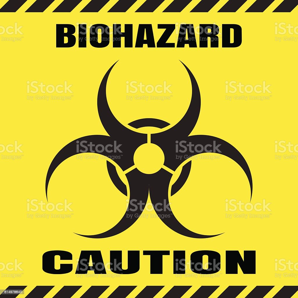 Vector poster of biohazard warning on the yellow background. vector art illustration