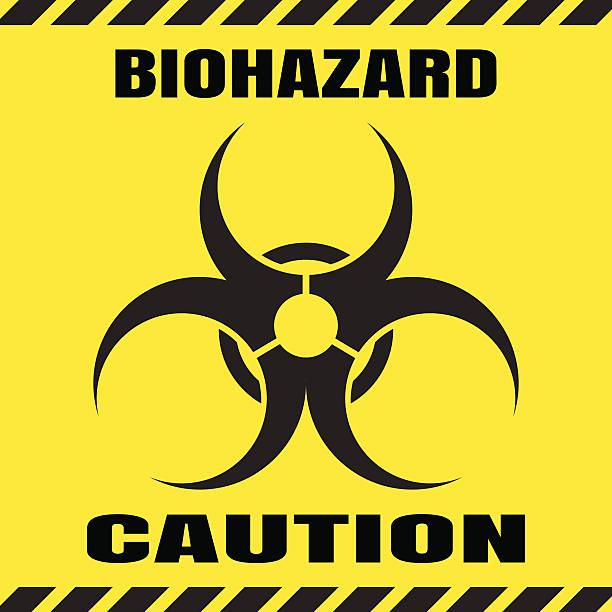 Vector poster of biohazard warning on the yellow background. Vector poster of biohazard warning on the yellow background. biohazard symbol stock illustrations