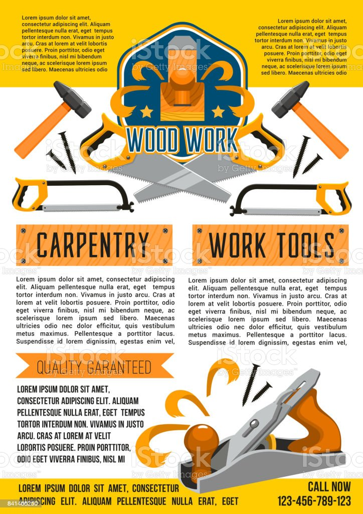 Vector Poster Of Carpentry Woodwork Work Tools Stock