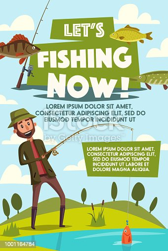 Fisherman on fishing vector poster for big fish catch. Vector cartoon design of man with rod at lake or river with tackles and baits for trout, perch or pike and salmon fishing