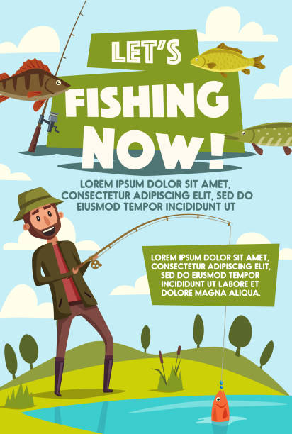 vector poster of fisherman with fish rod - rybactwo stock illustrations