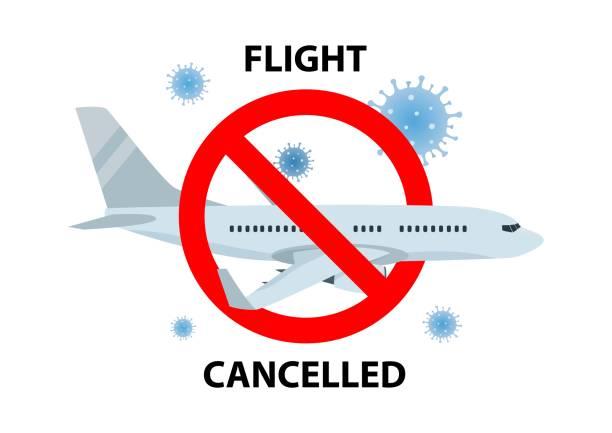 ilustrações de stock, clip art, desenhos animados e ícones de vector poster of flight cancelled with plain, virus and forbidden sign on white background. - covid flight