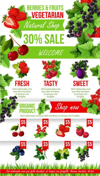 Vector poster of fresh garden berries market sale vector art illustration