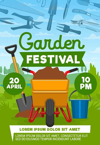 Vector poster of garden and farming equipment