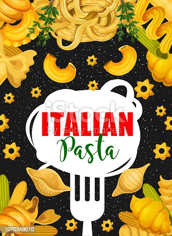 istock Vector poster of Italian pasta and fork 1070349010