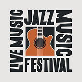 istock Vector poster of jazz music festival with guitar 1212773210