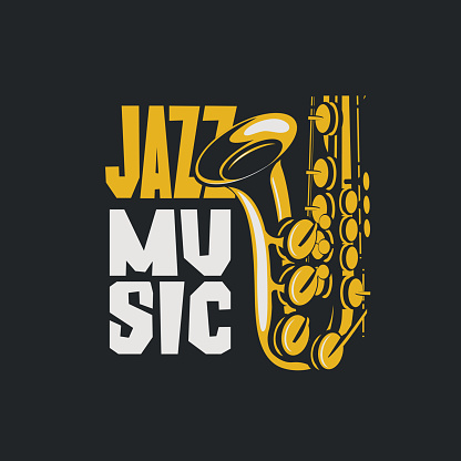 Vector poster of jazz music with saxophone
