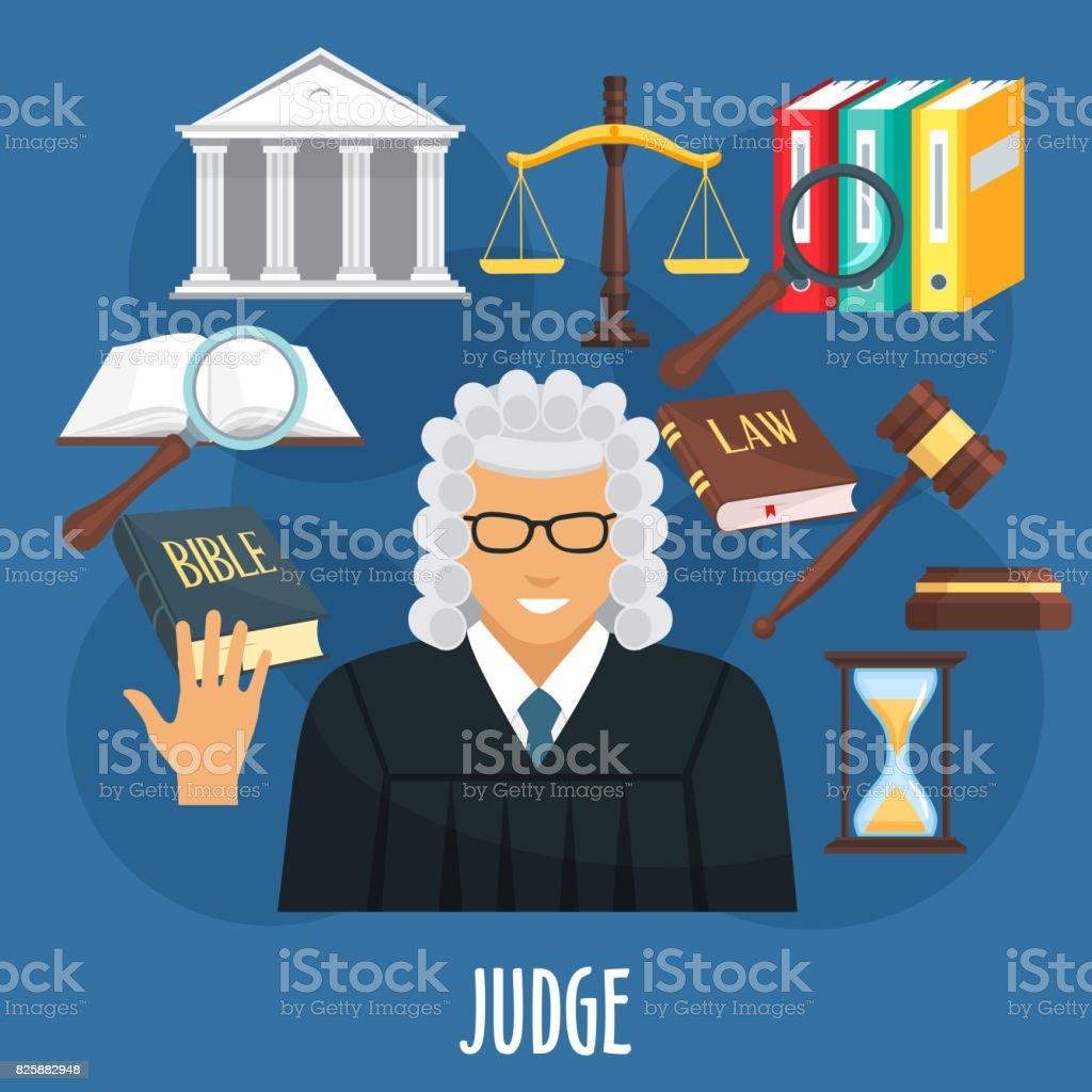 Cartaz de vetor da profissão de juiz ou de advocacia - ilustração de arte em vetor