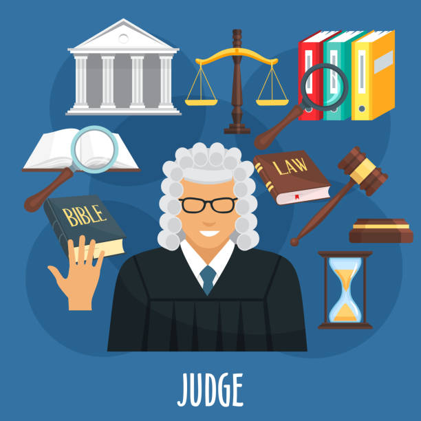 ilustrações, clipart, desenhos animados e ícones de cartaz de vetor da profissão de juiz ou de advocacia - assistente jurídico