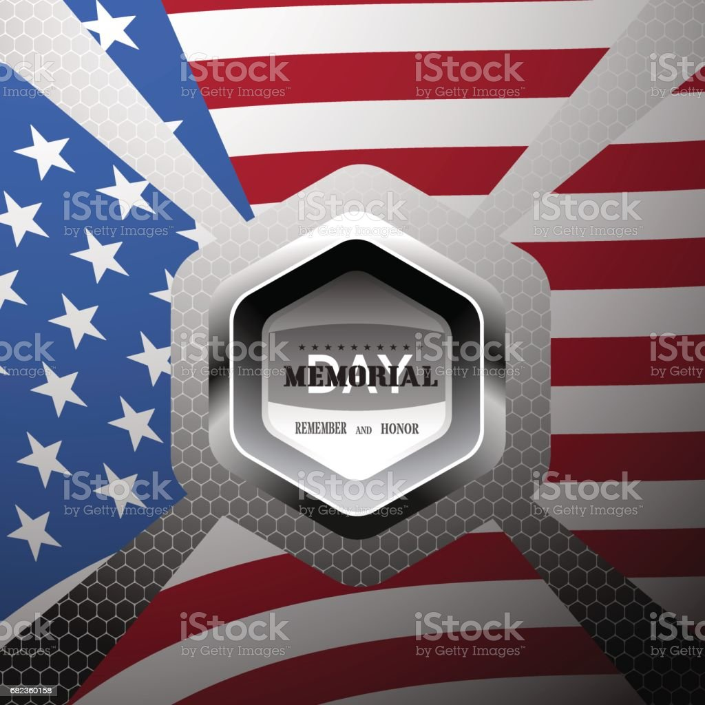Vector poster of Memorial Day with metal label and american flag on the gradient gray background with hexagon pattern. vector poster of memorial day with metal label and american flag on the gradient gray background with hexagon pattern - immagini vettoriali stock e altre immagini di a forma di stella royalty-free