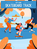 Vector poster of Skateboard Track at City Park concept. Man, teenagers boy and girl skater skateboarding at forest or street, enjoy hobby and activity. Character illustration of advertising banner