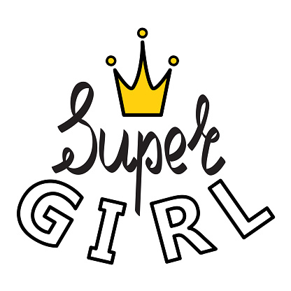 Vector poster of Super Girl text for girls clothes. Super Girl badge, tag, icon. Inspirational quote card, invitation, banner. Hand drawn. Super Girl lettering typography. EPS 10