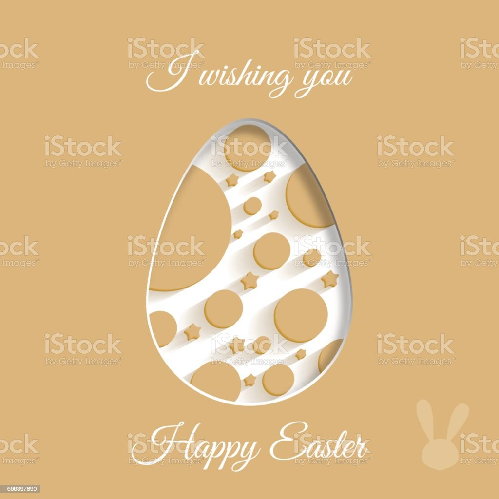 Vector poster of white Easter egg with light brown geometric pattern...