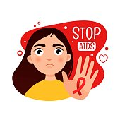 Vector poster on the theme of AIDS. Stop AIDS. Illustration of a cute girl.