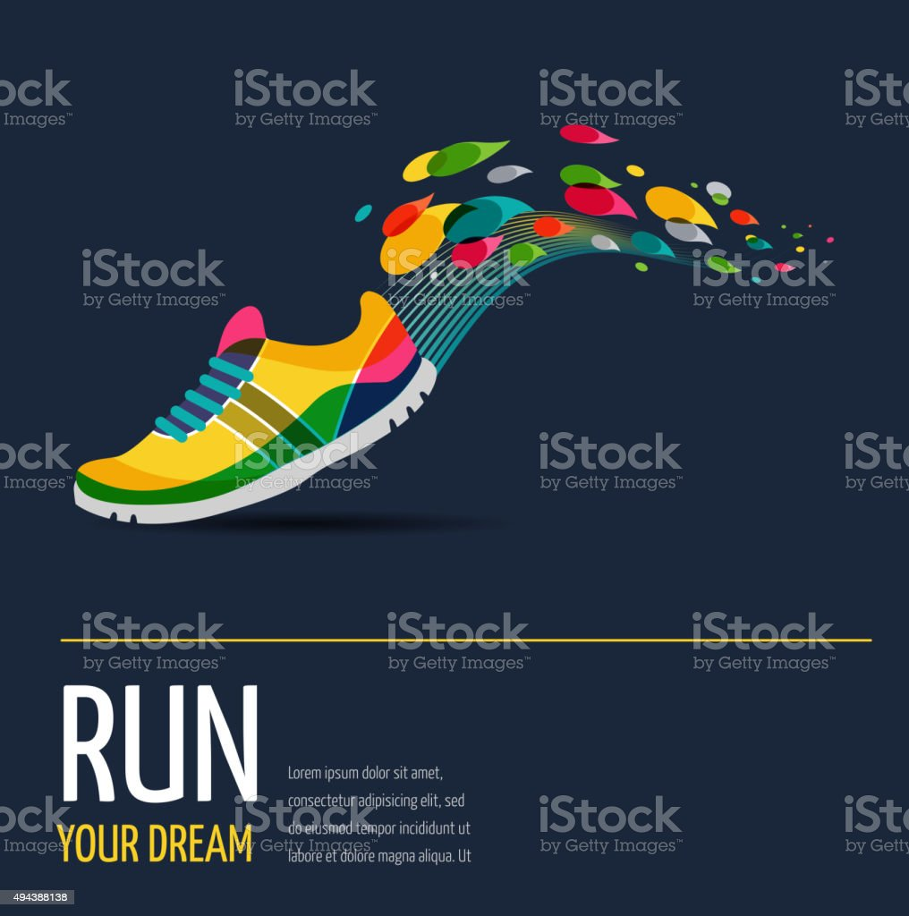 Vector poster - running and sport vector art illustration