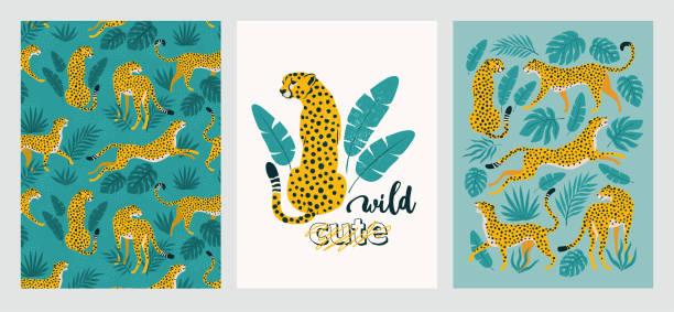 illustrazioni stock, clip art, cartoni animati e icone di tendenza di poster vettoriale di leopardi e foglie tropicali. illustrazione alla moda. - fauna selvatica