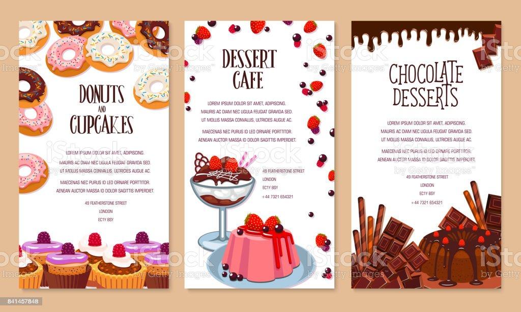 Vector poster template for bakery shop desserts vector art illustration