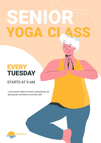 Vector poster template with a cheerful elderly woman doing yoga in local yoga class. Senior wellness issue. Healthcare group activities for elderly people. Modern lifestyles.