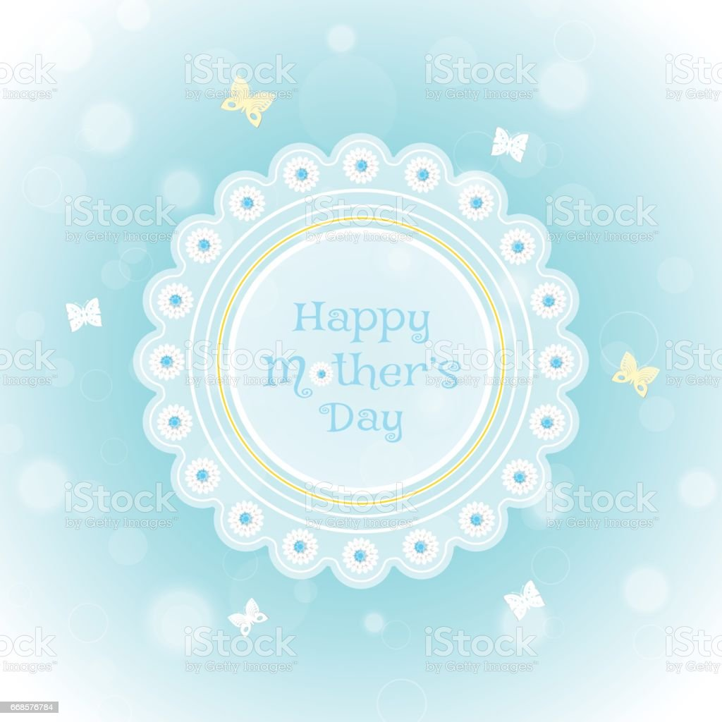 Vector Poster To Happy Mothers Day On The Gradient Light Blue