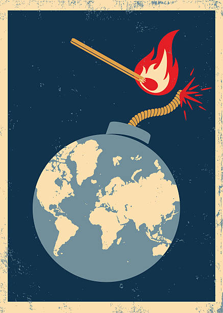 Vector poster with bomb and match Vectorvintage poster bomb with World map and match in fire and sparks explosive fuse stock illustrations
