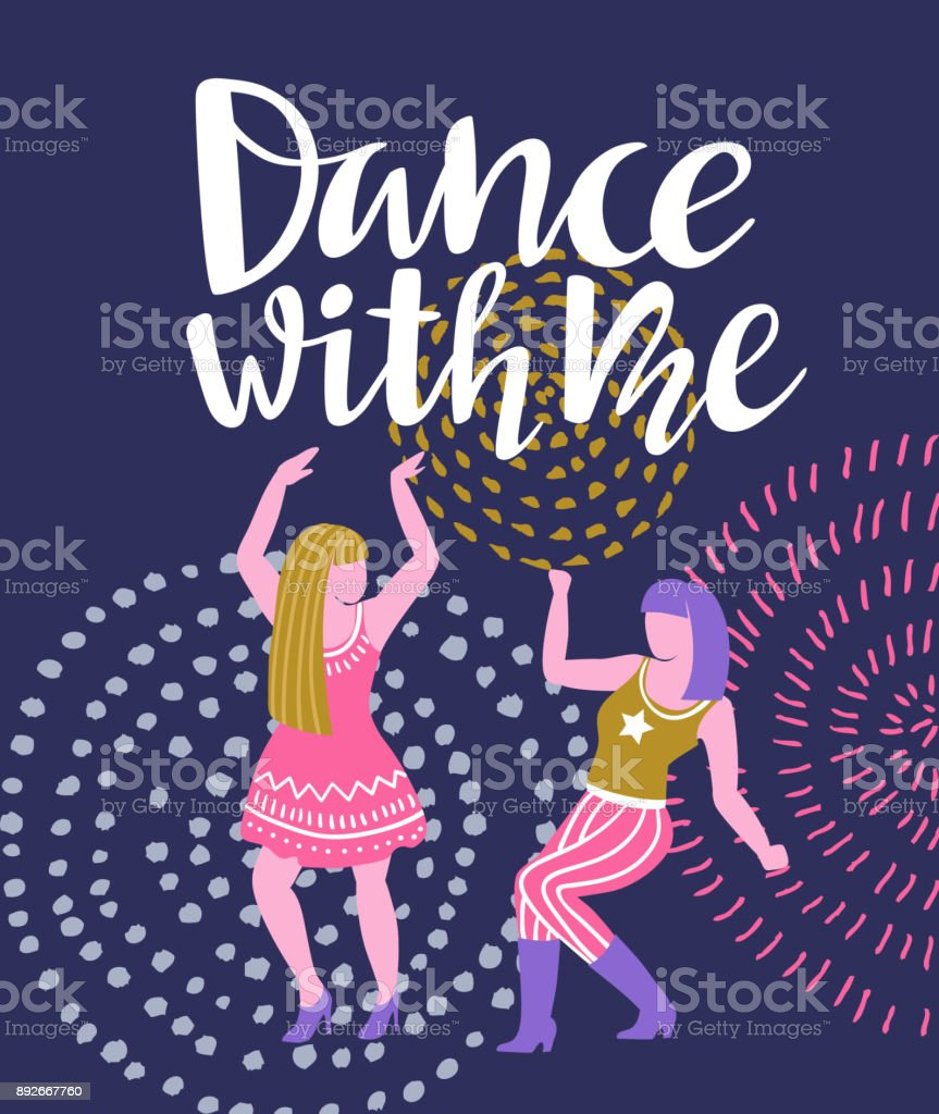 Vector poster with dancing girls party invitation or dance banner vector poster with dancing girls party invitation or dance banner design royalty free stopboris Gallery