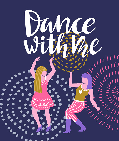 Vector Poster With Dancing Girls Party Invitation Or Dance Banner Design Stock Illustration Download Image Now Istock