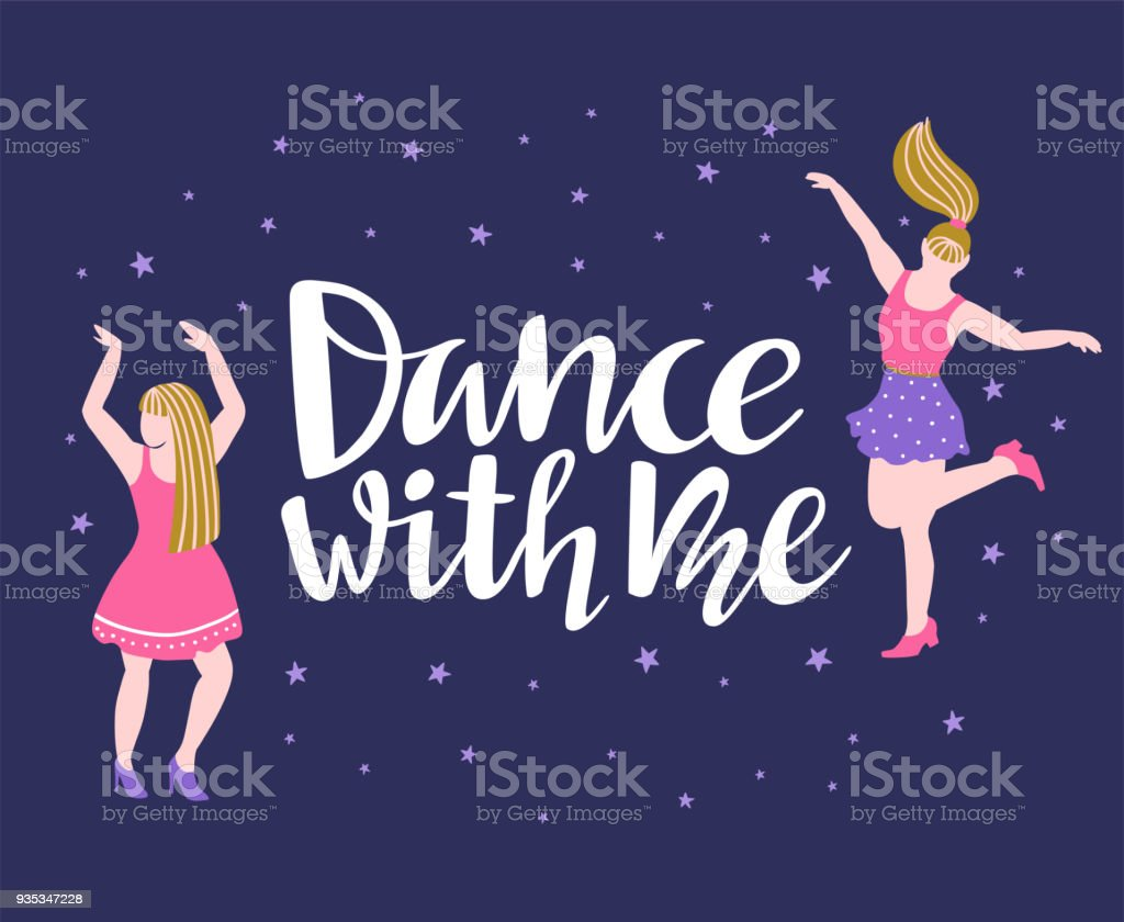Vector Poster With Dancing Girls Party Invitation Or Dance Banner Design With Lettering Dance With Me Stock Illustration Download Image Now Istock