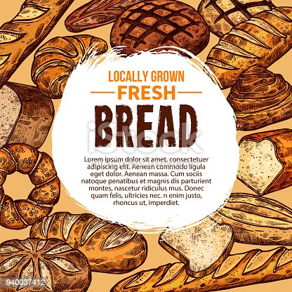 Vector sketch poster with different bread products. Concept of locally grown fresh bread. Various bakery loaf, baguette, roll, bagel etc. Vector design banner for pastry shop or food market