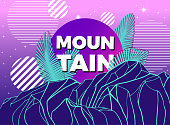 Vector poster with geometric mountain, palm leaves and striped circles. Modern abstract background.