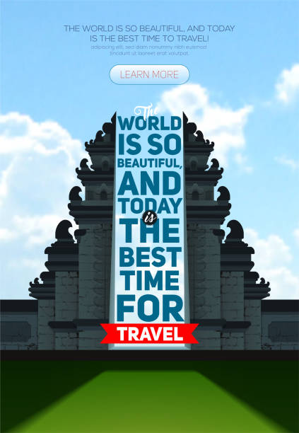 stockillustraties, clipart, cartoons en iconen met vector poster met hindoe tempel pura besakih. bali. indonesië, de beste tijd om te reizen - indonesische cultuur